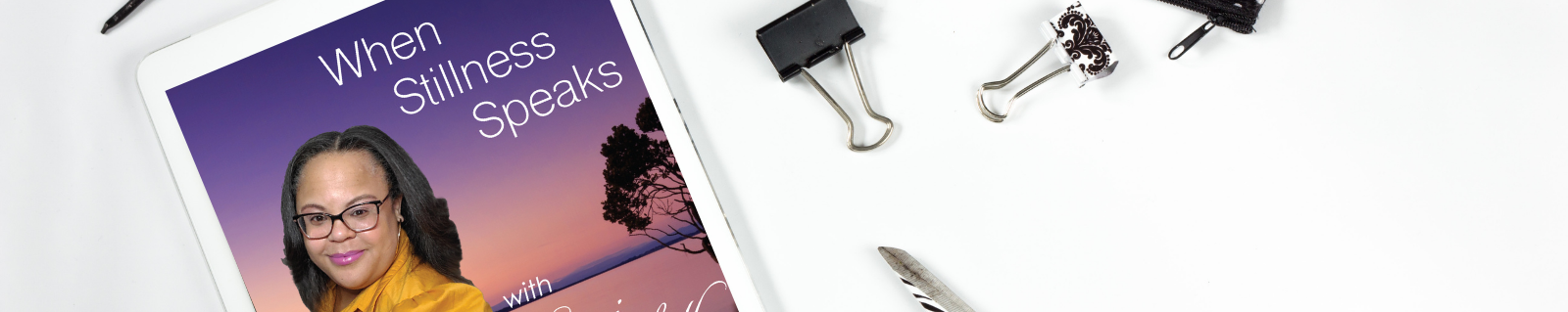 iPad, paper clips, When Stillness Speaks podcast cover